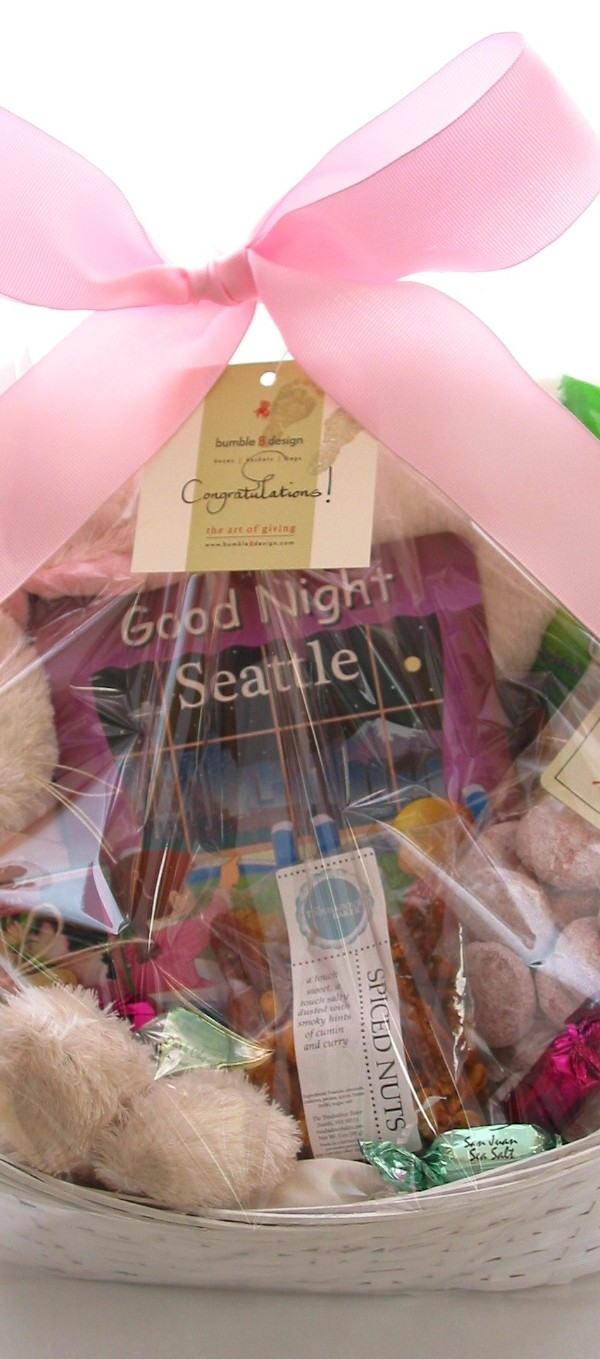 bumbleBdesign - Baby Girl Basket with Goonight Seattle Book, Seattle baby gifts